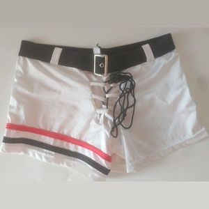 White Shorts with Red/Black Stripes